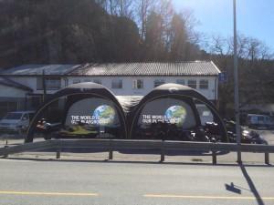 to stk X-Gloo telt koblet sammen med tunell